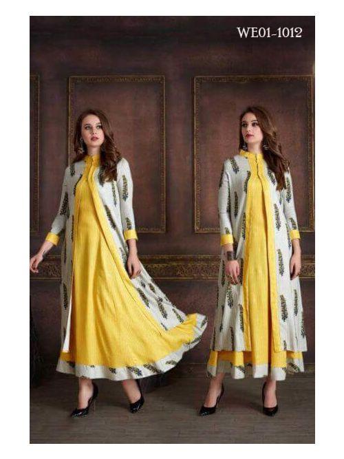 Yellow & Off White Kurti With Long Jacket