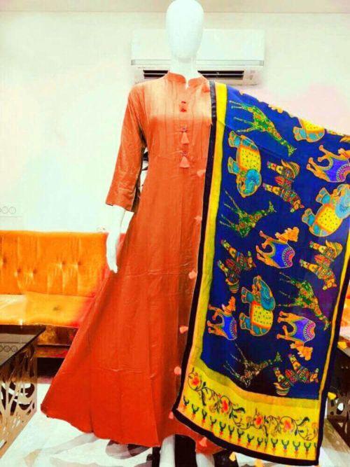 Orange Kurti With Design Printed Dupatta