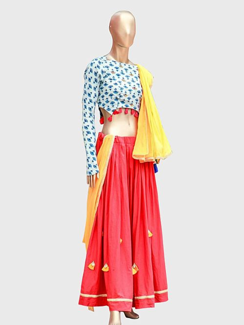 Red Lehenga With Printed Blouse