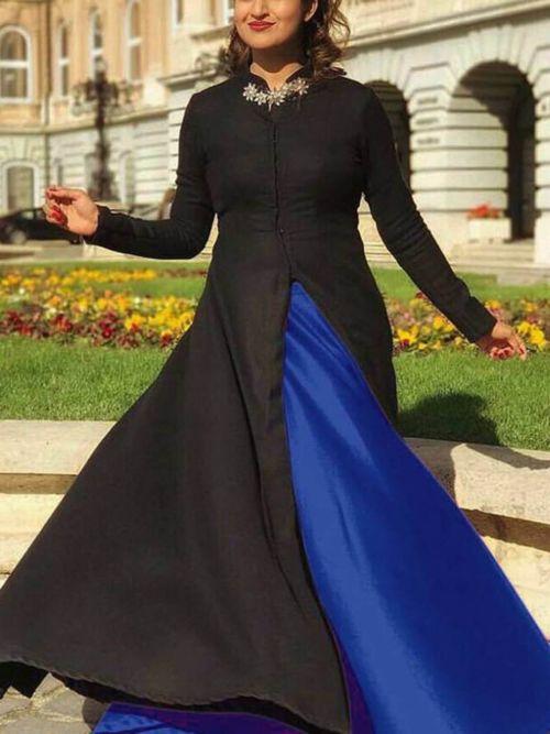 Black & Blue Solid Anarkali Gown