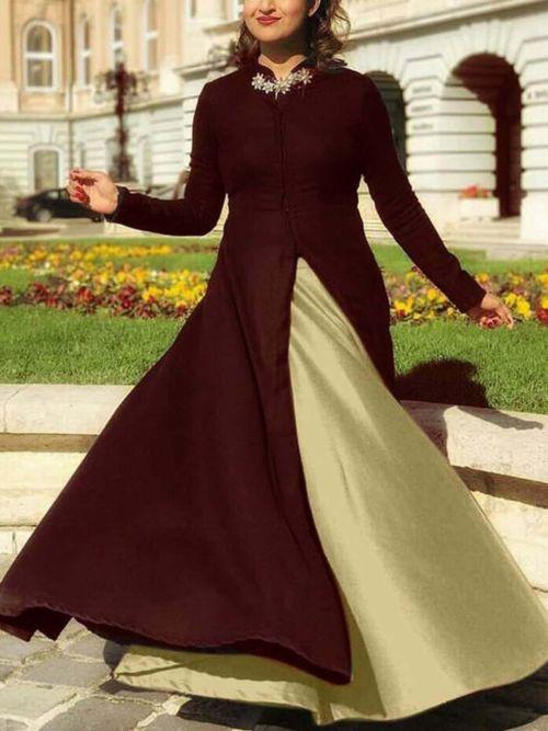 Brown & Beige Solid Anarkali Gown