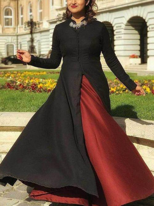 Black & Maroon Solid Anarkali Gown