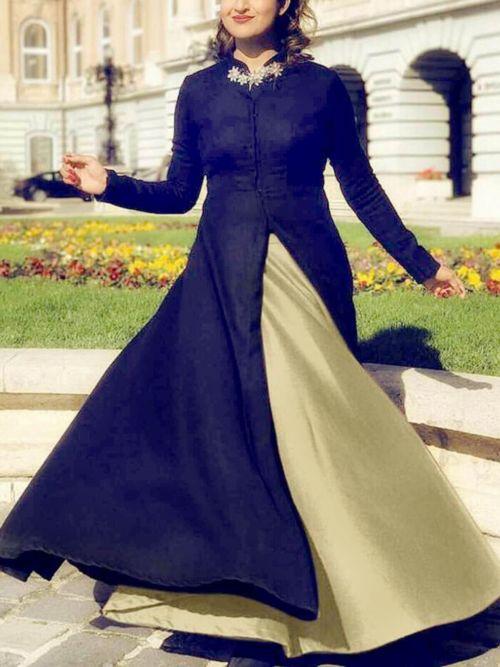 Navy & Beige Solid Anarkali Gown