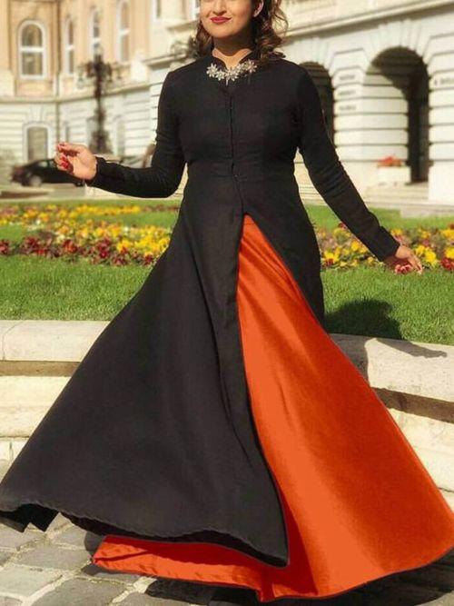 Black & Orange Solid Anarkali Gown