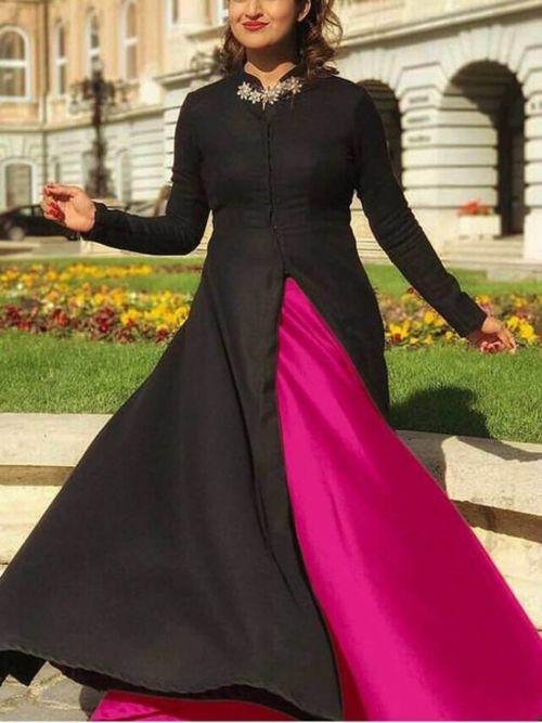 Black & Pink Solid Anarkali Gown
