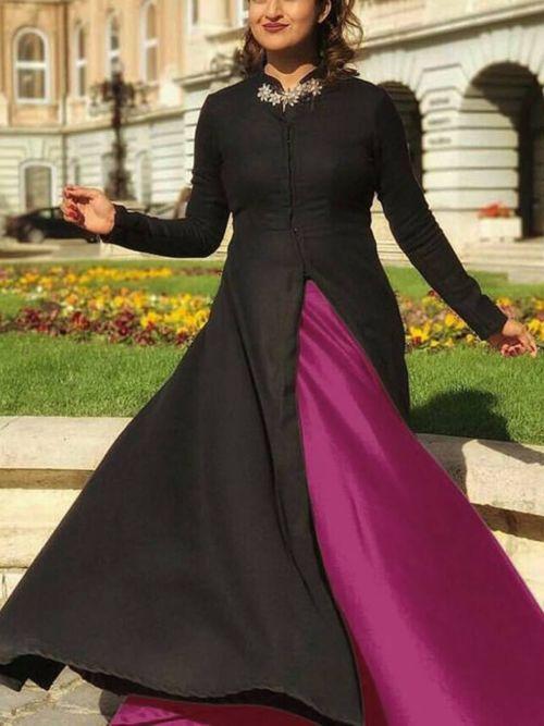 Black & Purple Solid Anarkali Gown