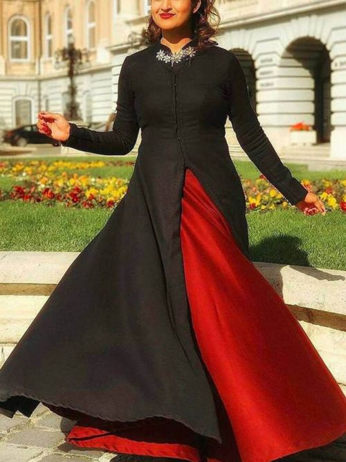 Black & Red Solid Anarkali Gown