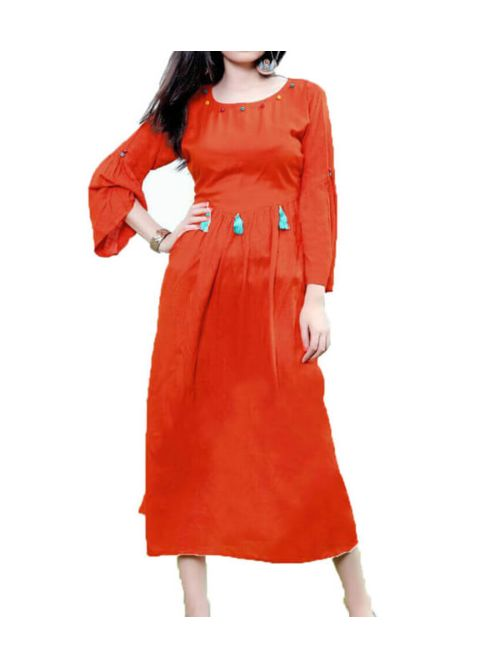 Orange Kurti With Jumkha
