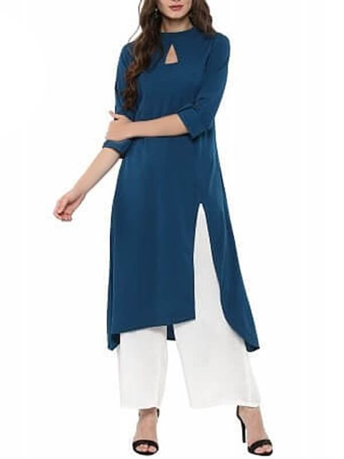 Designer Kurti With Pattern Neck