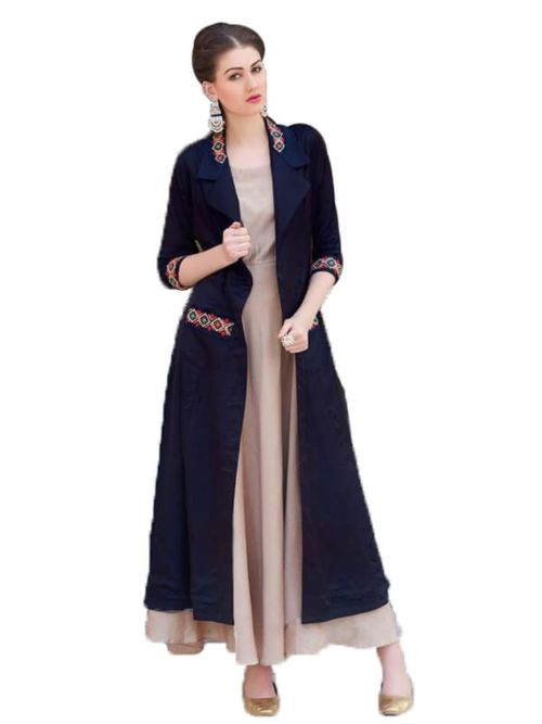 Long Kurti With Jacket And Embroidery Work