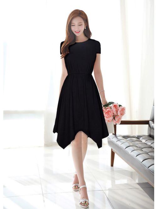 Knee Length Black Western Dress