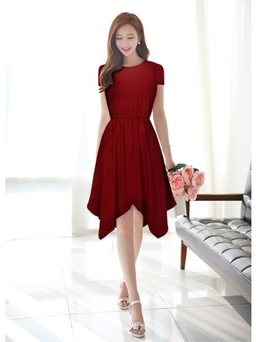 Knee Length Maroon Western Dress