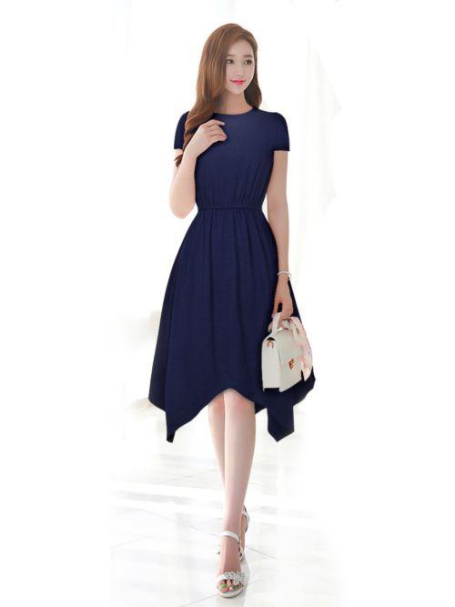 Knee Length Navy Western Dress