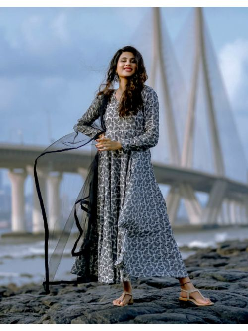 Stayles and Printed Gray Kurti with Dupatta