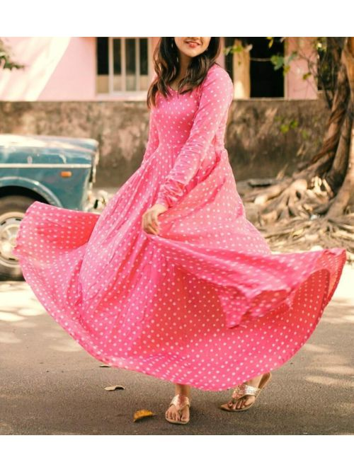 Floral Printed Anarkali Light Pink Kurti