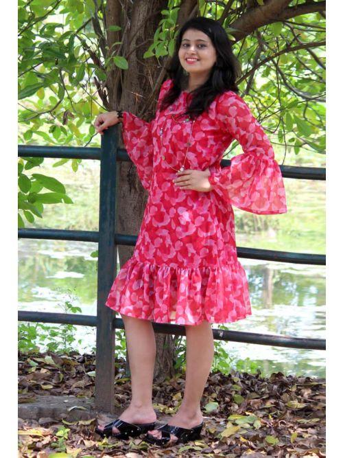 Floral Print Bell Sleeve Frill Trim Dress