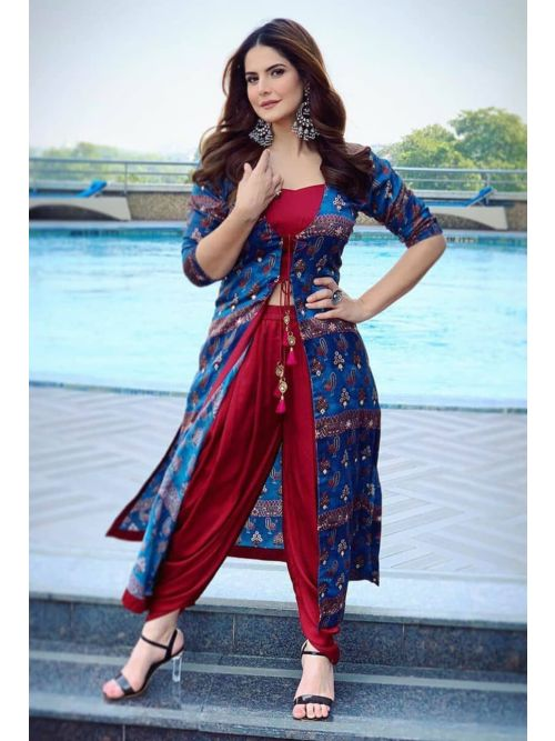 Stylist Red Dhoti Suit With Digital Printed Shrug