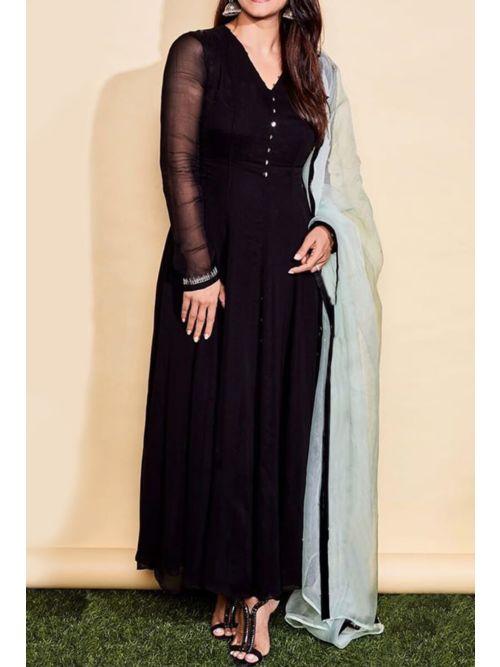 Black Color Long Gorgeous  Kurti With Dupatta