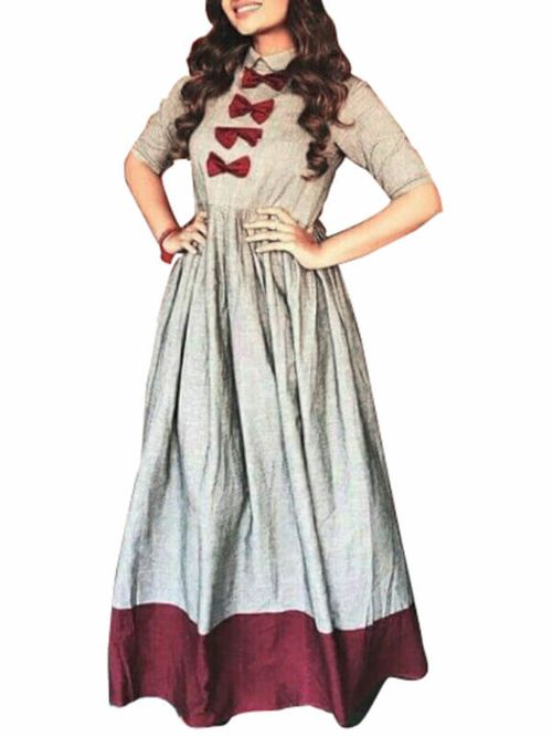 Gray Colour Gown In Maroon Design