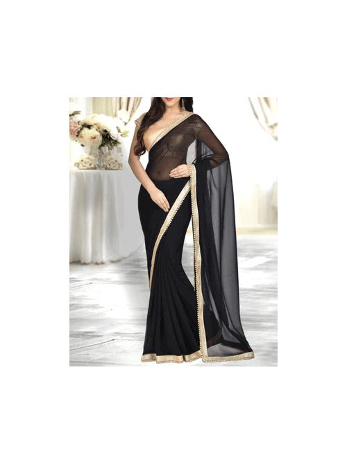 Beautiful Black Color Georgette Saree