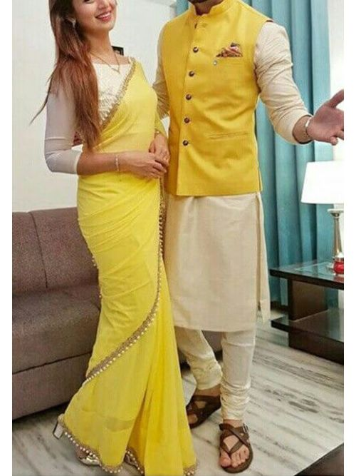 Beautiful Yellow Color Georgette Saree