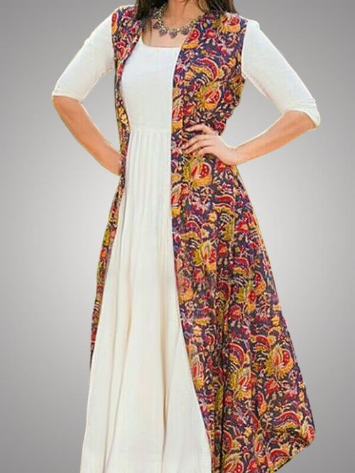 White Kurti With Printed Jecket