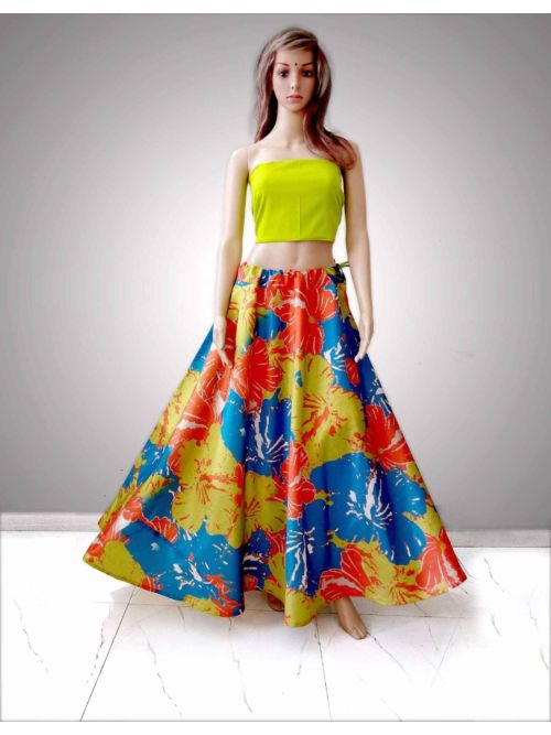Parrot Lahenga With Unstiched Blouse