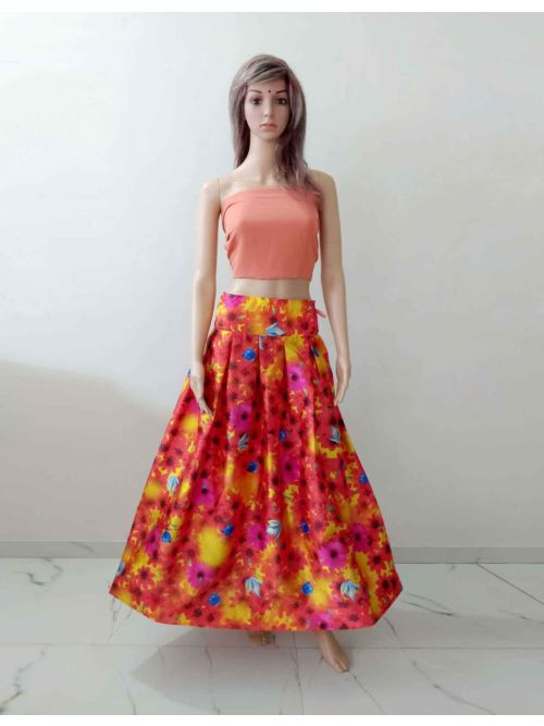 Orange Lahenga With Unstiched Blouse