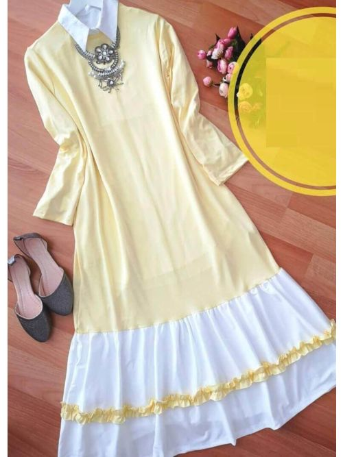 Cream Long Frilled Top