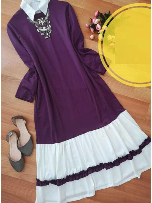 Purple Long Frilled Top