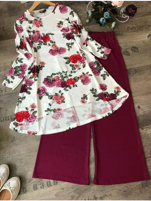 Flower Printed Top With Maroon Palazzo