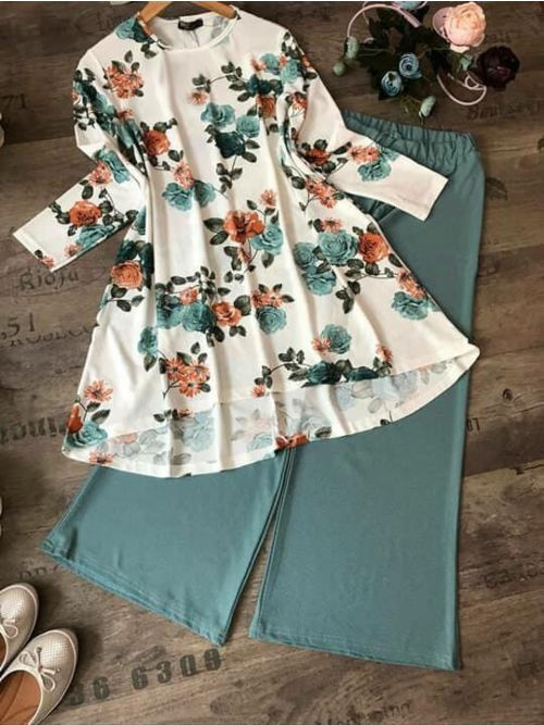 Flower Printed Top With Sea green Palazzo