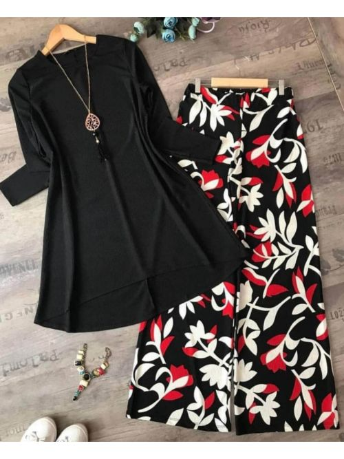 Black Top With Printed Palazzo