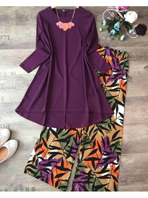 Purple Top With Printed Palazzo