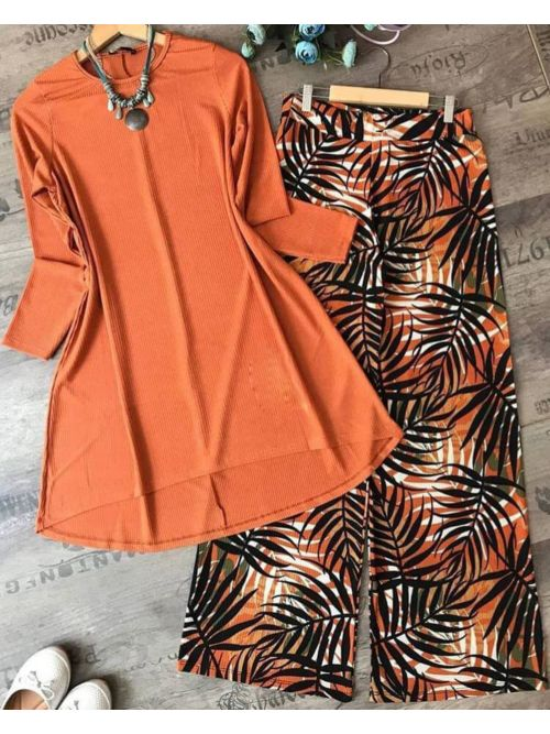 Orange Top With Printed Palazzo