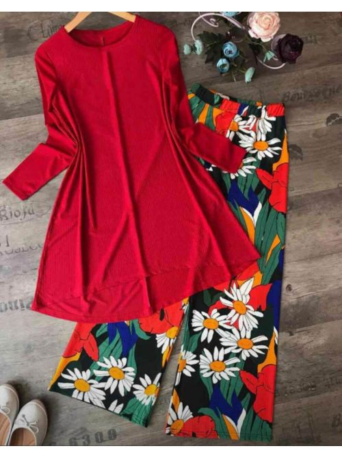 Red Top With Printed Palazzo