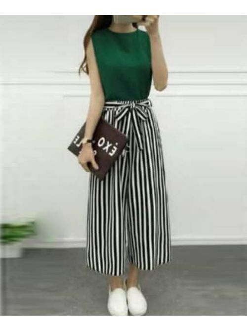 Dark Green Blouse With Black & White Lines Palazzo