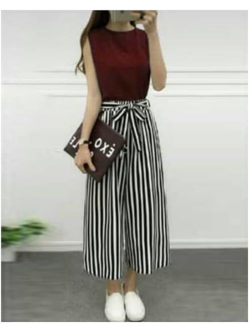Maroon Blouse With Black & White Lines Palazzo