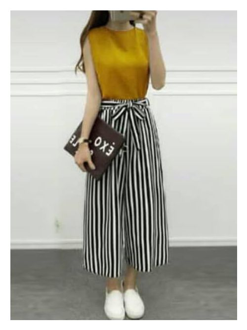 Mustard Blouse With Black & White Lines Palazzo