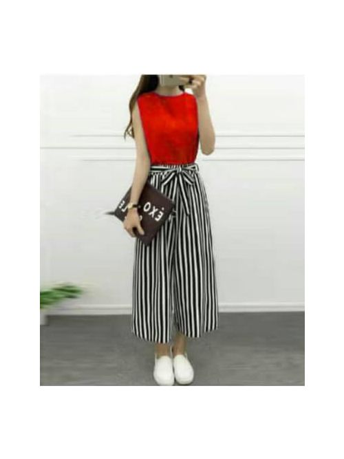 Red Blouse With Black & White Lines Palazzo