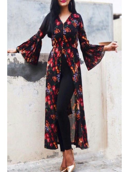 Flower Printed Kurti With Frill Sleeves