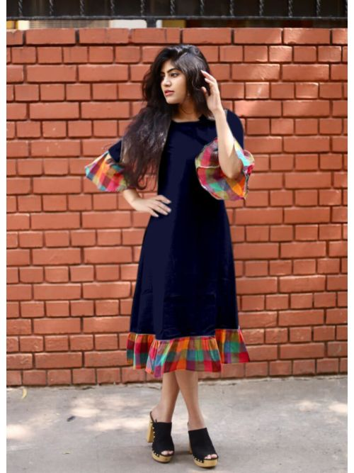 Navy Cotton Kurti With Frill sleeve