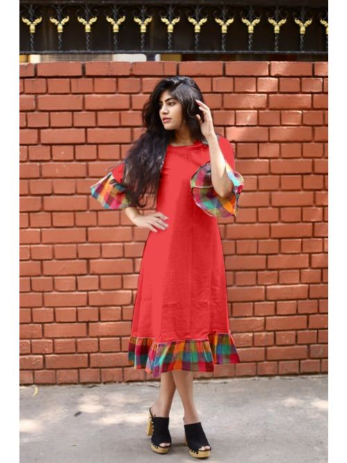 Red Cotton Kurti With Frill sleeve