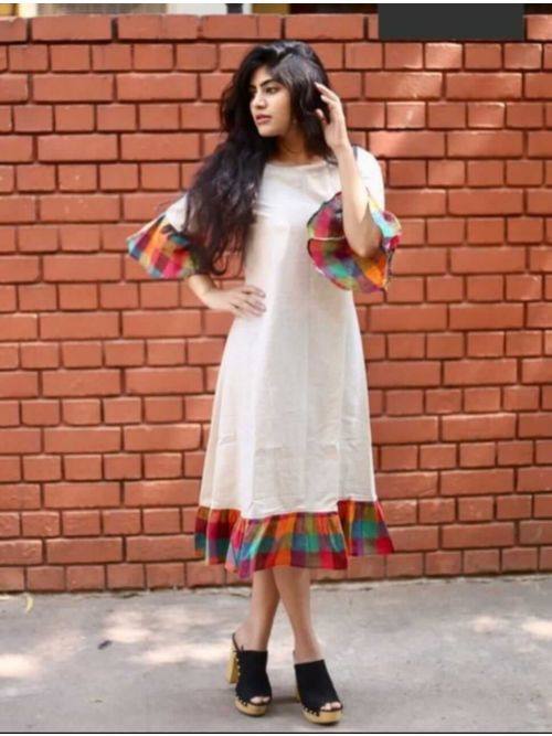White Cotton Kurti With Frill sleeve