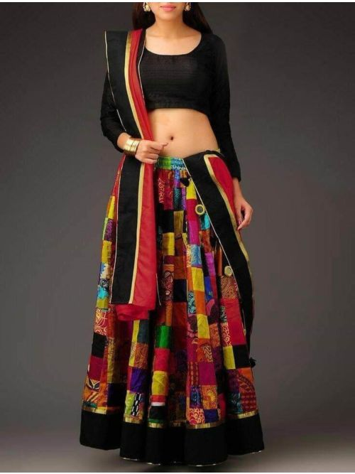 Multicolor Printed Banglory Navratri Lehenga Chaniya Choli