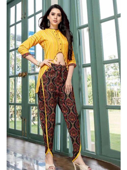 Yellow Short kurti With Patiyala