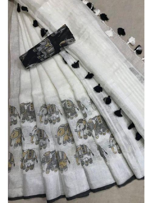 White Elephant Printed Saree