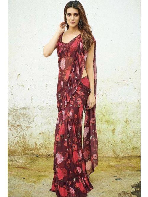 Maroon Floral Georgette Printed Saree