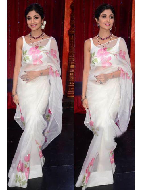 White Printed Simple Saree