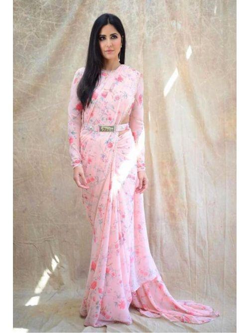 Light Pink Georgette Printed Fancy Saree